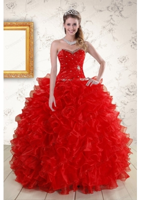 fashionable Ball Gown Sweetheart Red Quinceanera Dresses with Beading