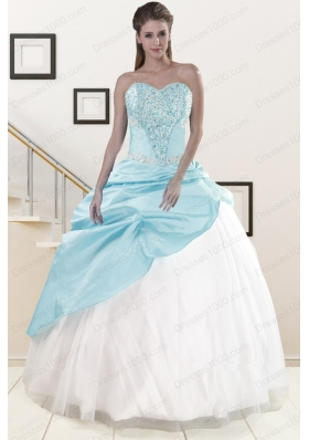 fashionable Blue and White Quinceanera Dresses with Beading and Pick Ups