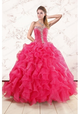 Fashionable Beading and Ruffles Sweet 15 Dresses in Hot Pink