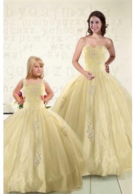 Latest Appliques Princesita Dress in Light Yellow For 2015