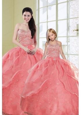 2015 Ruffles Watermelon Red Princesita Dress with Sequins