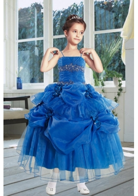 Ball Gown 2015 Royal Blue Little Girl Pageant Dress with Ruffles and Hand Made Flowers