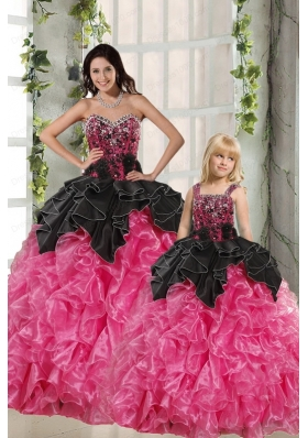 Ball Gown Beading and Ruffles 2015 Princesita Dress in Rose Pink and Black