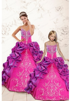 Classic Ball Gown Embroidery Court Train Princesita Dresses in Purple