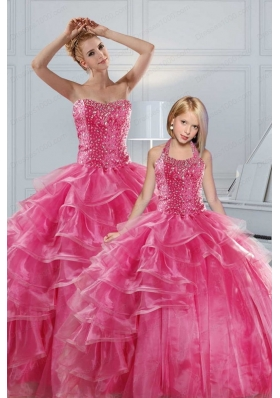 Hot Pink Sweetheart Beading Princesita With Quinceanera Dresses