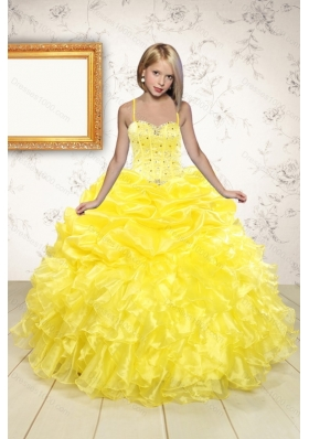 Beand New Beading and Ruffles Flower Girl Dress in Yellow for 2015