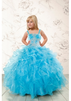 2015 Modest Appliques and Ruffles Aqua Blue Little Girl Pageant Dress