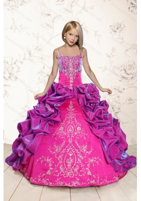 Trendy Coral Red and Purple Little Girl Dress with Appliques and Pick Ups for 2015 Spring