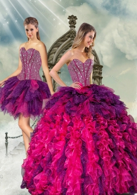 2015 Detachable Multi Color Quince Dresses with Beading and Ruffles