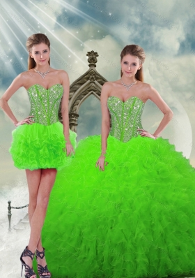 Designer and Detachable Beading and Ruffles Spring Green Dresses For Quinceanera