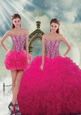 Unique and Detachable Beading and Ruffles Dresses For Quince in Hot Pink