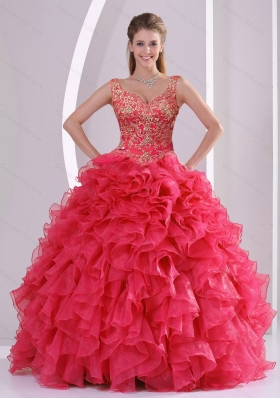 2015 Detachable and Modern Beading and Ruffles Quince Dresses in Red