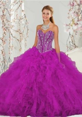 Luxurious and Detachable Beading and Ruffles Fuchsia Sweet 16 Dresses