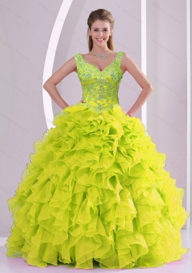 Trendy Beading and Ruffles Yellow Green Vestidos de Quinceanera Dresses for 2015