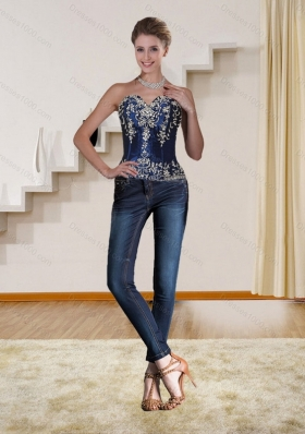 2015 Navy Blue Strapless Corset with Beading and Embroidery