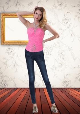 Elegant Strapless Baby Pink Corset with Beading