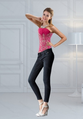 Perfect Hot Pink  Sweetheart Corset with Embroidery and Beading