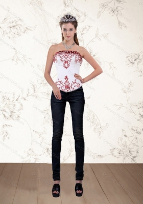 Strapless White and Wine Red Corset Dress with Embroidery