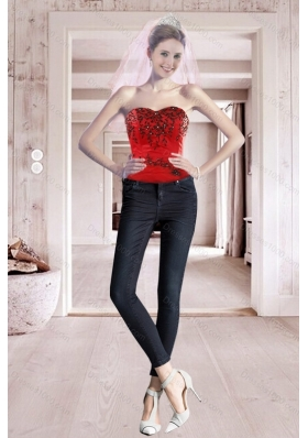 2015 Best Seller Red Sweetheart Corset with Embroidery
