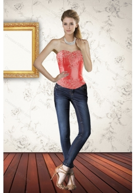 2015 New Style Strapless Coral Red Corset with Embroidery