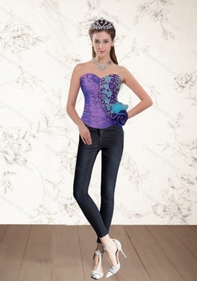 2015 Popular Beading Multi Color Corset with Hand Made Flower