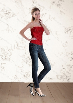2015 The Most Popular Strapless Beading Corset in Red