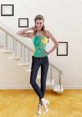 Embroidery Pretty Corset in Yellow and Green for 2015