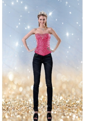 2015 Girls Fashionable Pink Sweetheart Corset With Beading
