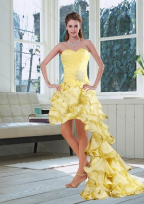 Beautiful Light Yellow Sweetheart High Low Prom Dress with Beading and Ruffled Layers