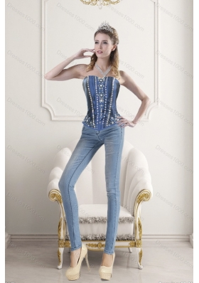 Blue Sweetheart Beading and Embroidery Corset