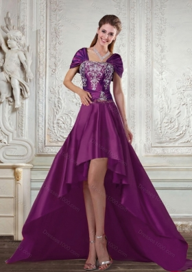 Dark Purple High Low Beautiful Strapless Embroidery Prom Dresses for 2015 Spring