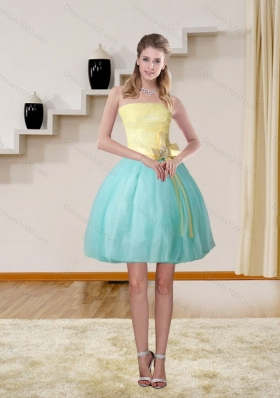 2015 Discount High Low Strapless Multi Color Prom Gown with Bowknot