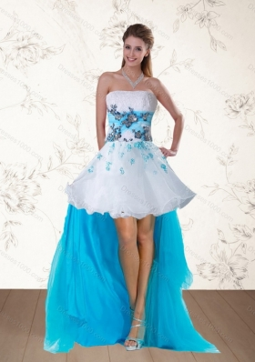 2015 Discount Multi Color Strapless Prom Dresses with Embroidery and Beading