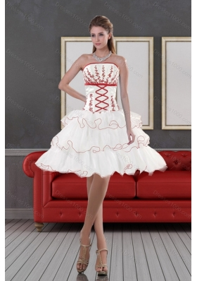 2015 Discount Strapless Prom Dresses with Embroidery and Ruffle layers