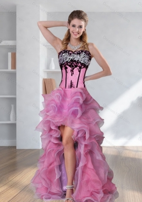 2015 Discount Zebra Printed Strapless High-low Rose Pink Prom Dresses with Embroidery