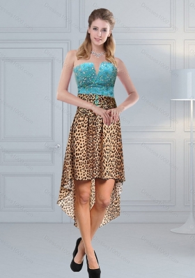Discount Beaded Leopard Printed 2015 Prom Dresses in Aqua Blue
