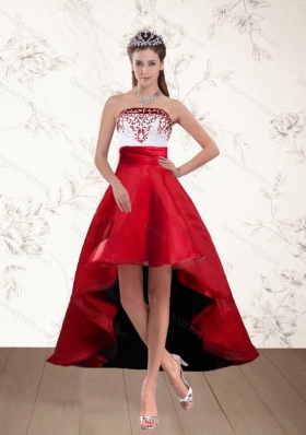 Discount White And Wine Red High Low Strapless Prom Dresses with Embroidery
