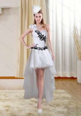 Discount White High Low One Shoulder Prom Dresses with Black Embroidery