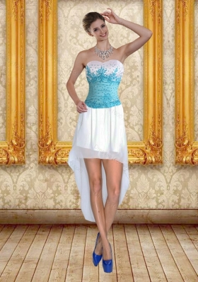 Discount White Sweetheart High Low 2015 Prom Dresses with Blue Embroidery