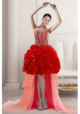 2015 Elegant High Low Prom Dresses with Beading and Ruffles