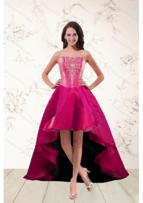 2015 Elegant Strapless High Low Prom Dresses with Appliques