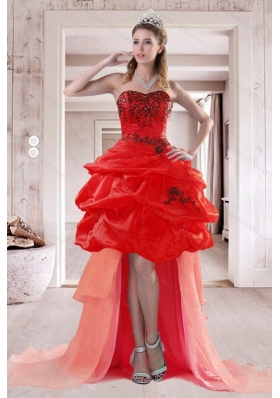 2015 Elegant Sweetheart Prom Dresses with Embroidery and Ruffles