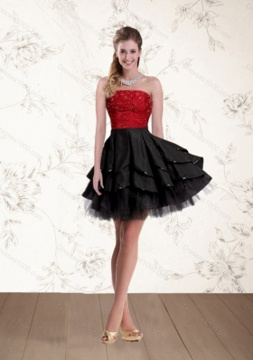 2015 Fashionable Strapless Beaded Prom Dresses in Red and Black