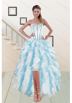 2015 Most Popular Sweetheart High Low Prom Gown with Appliques and Ruffles