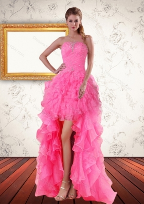 2015 Perfect Baby Pink Strapless High Low Prom Dreses with Beading and Ruffled Layers