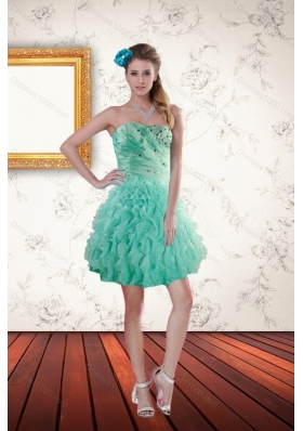 2015 Popular Apple Green Prom Dresses with Appliques and Ruffles