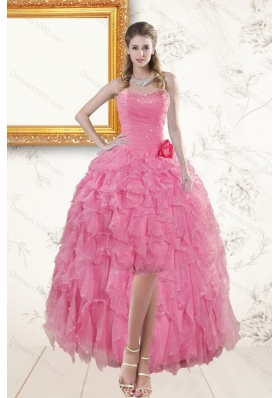 2015 Rose Pink Sweetheart Prom Dresses with Beading and Ruffles