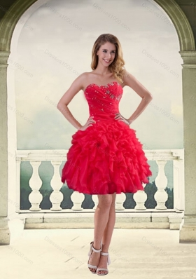 Ball Gown Strapless Red 2015 Prom Dresses with Ruffles and Beading