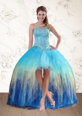 Elegant 2015 Baby Blue Sweetheart Multi Color Prom Dresses with Ruffles and Beading