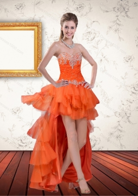 Elegant High Low Sweetheart Orange Prom Dresses with Ruffles and Beading